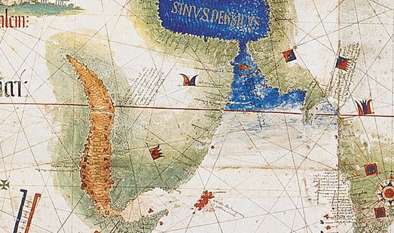 Red Sea, watching the island of Socotra and the Persian Gulf (blue) with the Strait of Hormuz (Cantino planisphere, 1502).