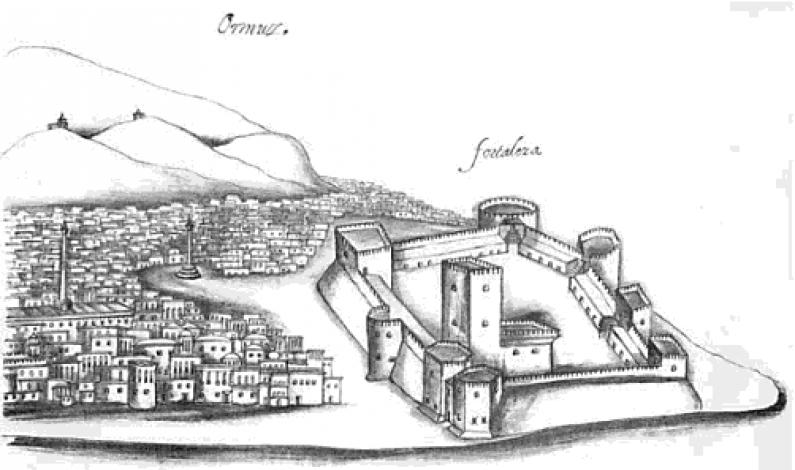 """Fortress of Hormuz, Gaspar Correia. """"Legends of India"""", c. 1556"""