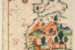 16th century map of African coast, showing A mina, São Jorge da Mina Castle